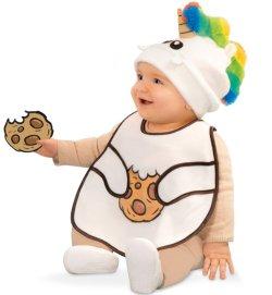 Baby-Set Pummel , bestehend aus Einhorn-Mütze und Lätzchen in fröhlichen Farben Mütze und Latz in einem Set Fotorequisite Pummeleinhorn