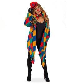 Kostüm-Set Clown 5-teilig Weste mit passender Schleife und Mini-Melone, Handschuhe und Clownsnase Spaßvogel Kasper Harlekin