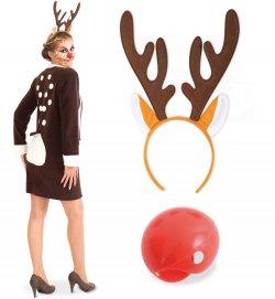 Kostüm Set REH Rentier 3 TLG. Kleid Haarreif Rentier rote Nase Rudolf Weihnachten Geweih für Erwachsene