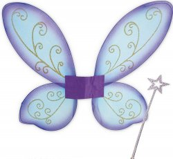 Elfen-Set (Elfen Flügel lila+Stab) ideal für Karneval oder Mottopartys