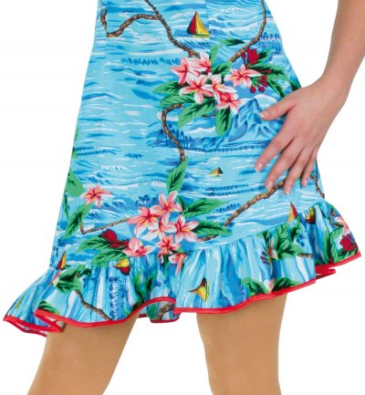 Damenkostüm-Set Hawaii 7-teilig Kleid Hula Blumenkette