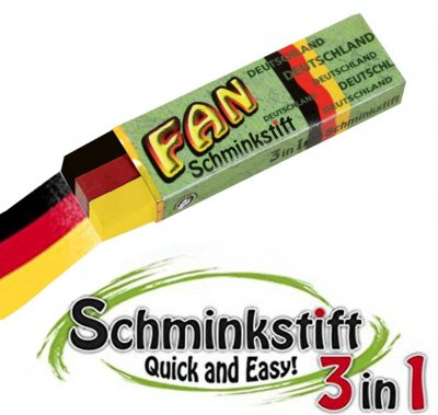 50er Pack - 3 in 1 Schminkstift FAN, Fanstift, Deutschland Flagge, Fanartikel...