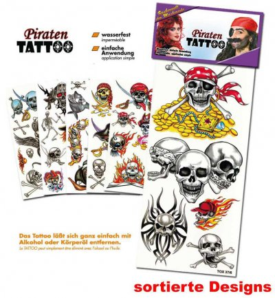 Piraten-Tattoos, sortierte Motive, Halloween, Karneval, Mottoparty, Piratenaccessoire