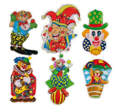 Wandbild Clown-Deko, sortierte Motive, Höhe ca. 45 cm, Wand-Deko, Karneval, Party, Dekoration