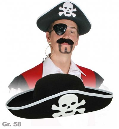 Piratenhut, Gr. 58 cm, Totenkopf, Halloween, Karneval, Mottoparty, Piratenaccessoire