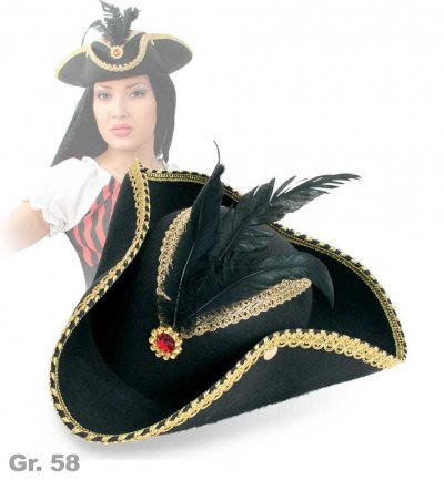 Hut Edel-Pirat, Gr. 58 cm, Halloween, Karneval, Mottoparty, Piratenaccessoire