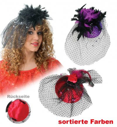 Fascinator Chic, sortierte Designs, Fascinator, Minihut, Karneval, Accessoire