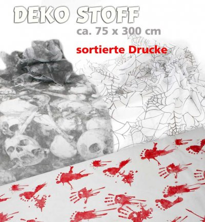 Halloween-Deko-Stoffe, sortierte Designs, ca. 75 x 300 cm, Halloween, Party, Deko