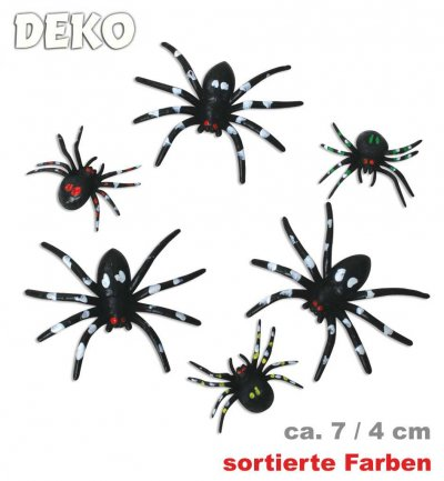 Halloween Spinnen, sortierte Modelle, ca. 4 - 6 cm, Halloween, Party, Deko