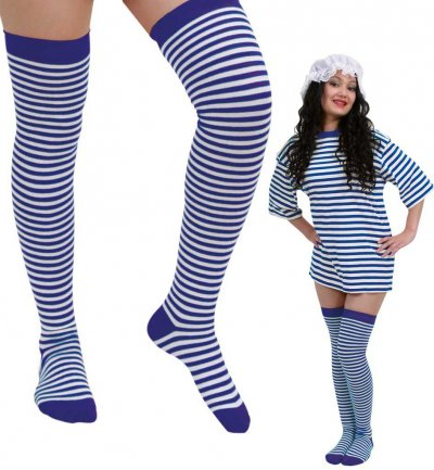 Overknees, blau/weiß, extra lang, ca. 63 cm, Karneval, Mottoparty, Accessoire