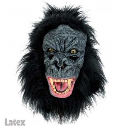 Gorilla-Maske, Latex, Vollmaske, Halloween, Karneval, Mottoparty, Horror