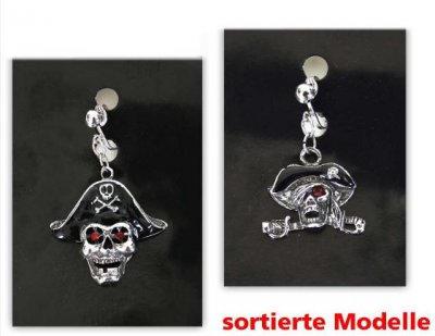 Piraten-Ohrring, sortierte Motive, Halloween, Karneval, Mottoparty, Schmuck