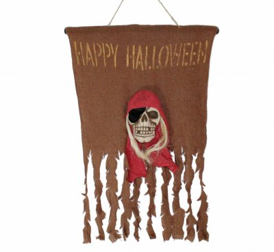 Halloween-Flagge Happy Halloween mit Piratenschädel Maße ca. 65 x 52cm Fahne Karneval Mottoparty Dekoration