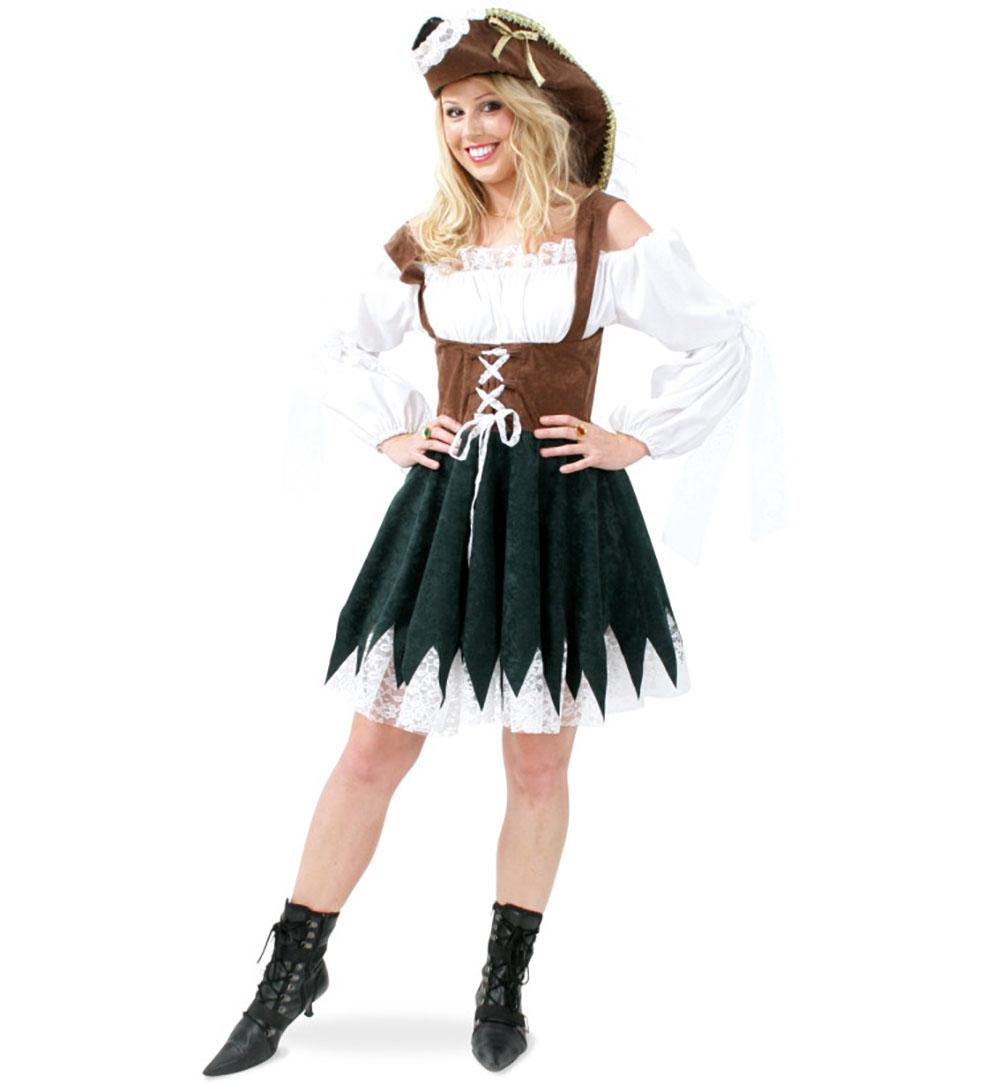 damenkost m piratin maggie einteiliges kleid mit hut karneval fasching halloween gr 36 42. Black Bedroom Furniture Sets. Home Design Ideas