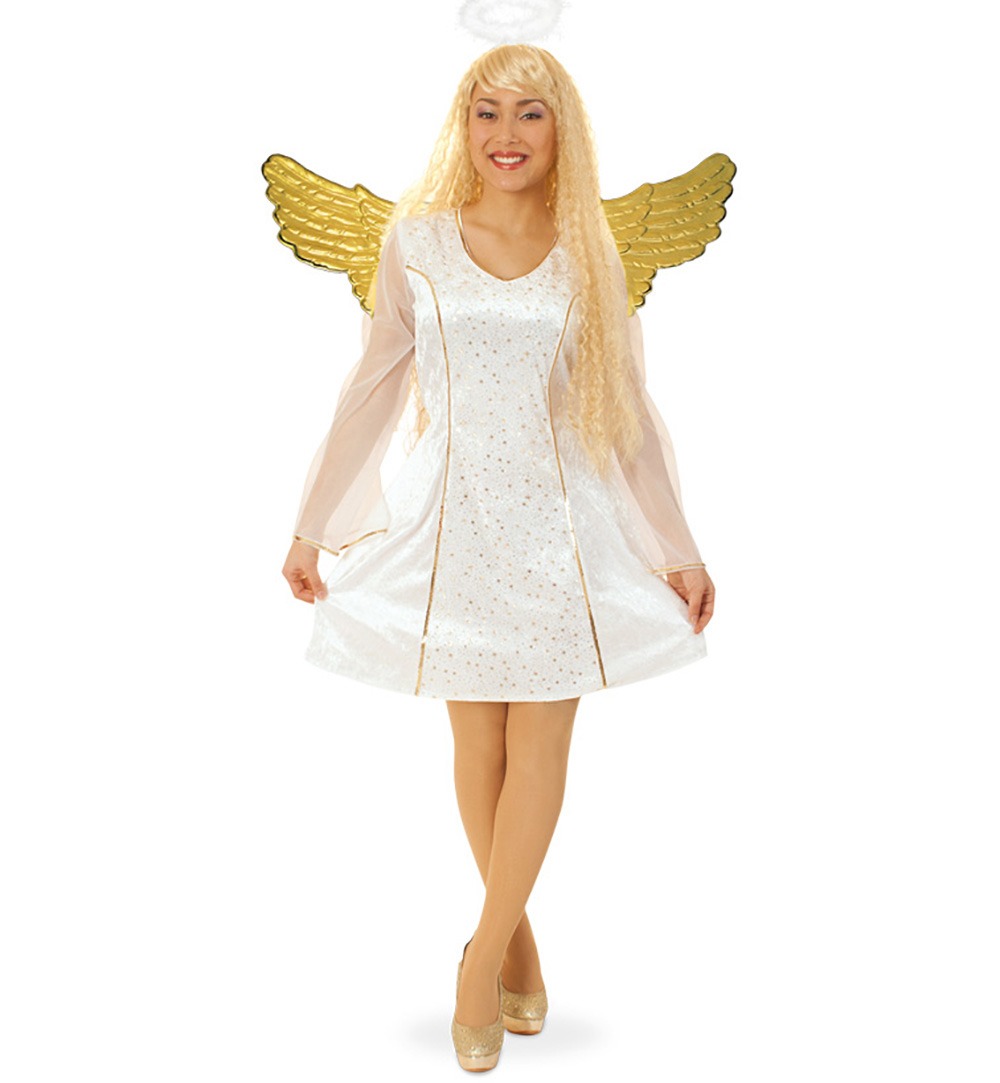 kleid weißer engel gold engelskleid damen kurz