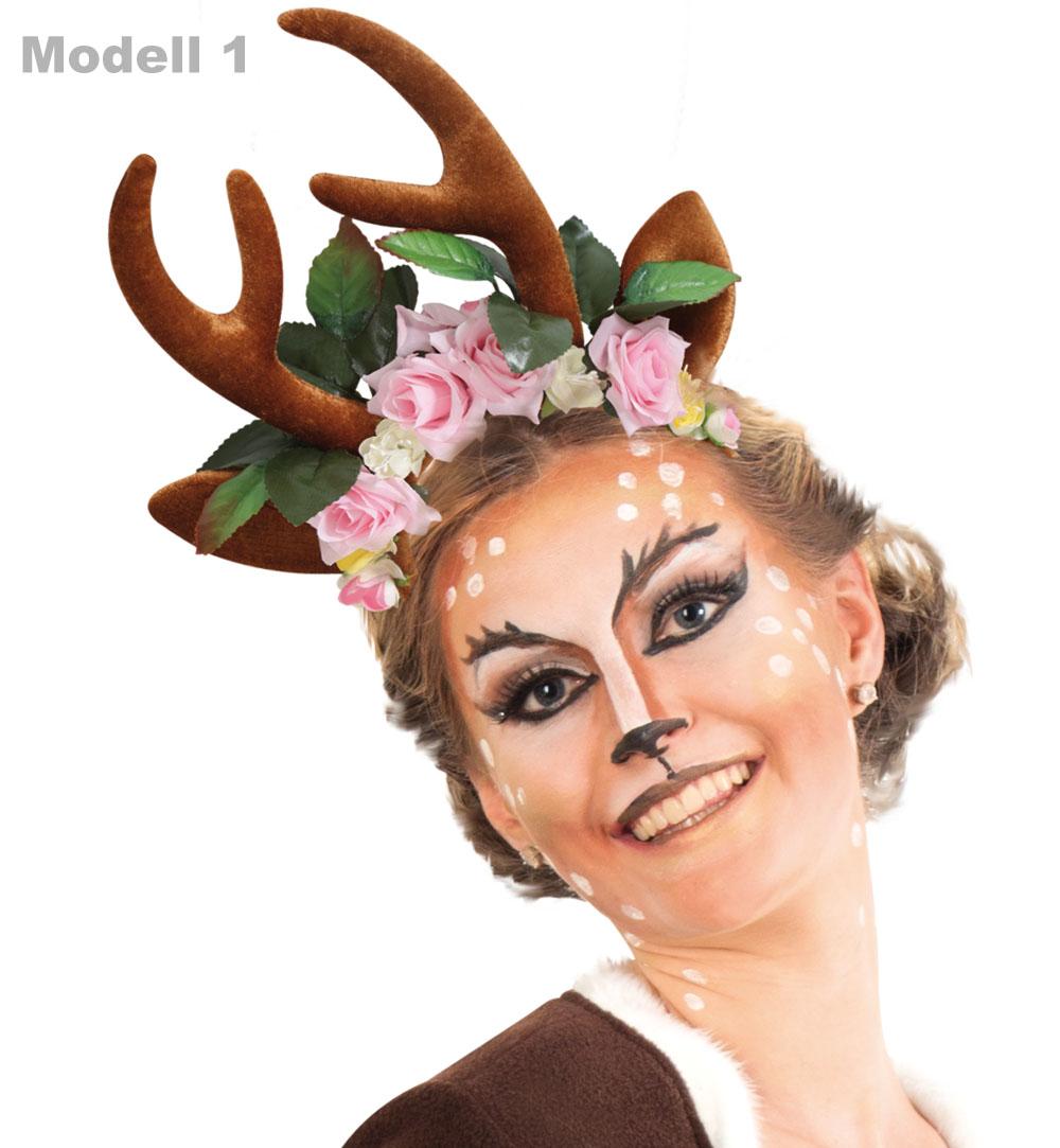 Karnevalsteufel Damenkostum Set Rehlein Kleid Inkl Haarreif Geweih
