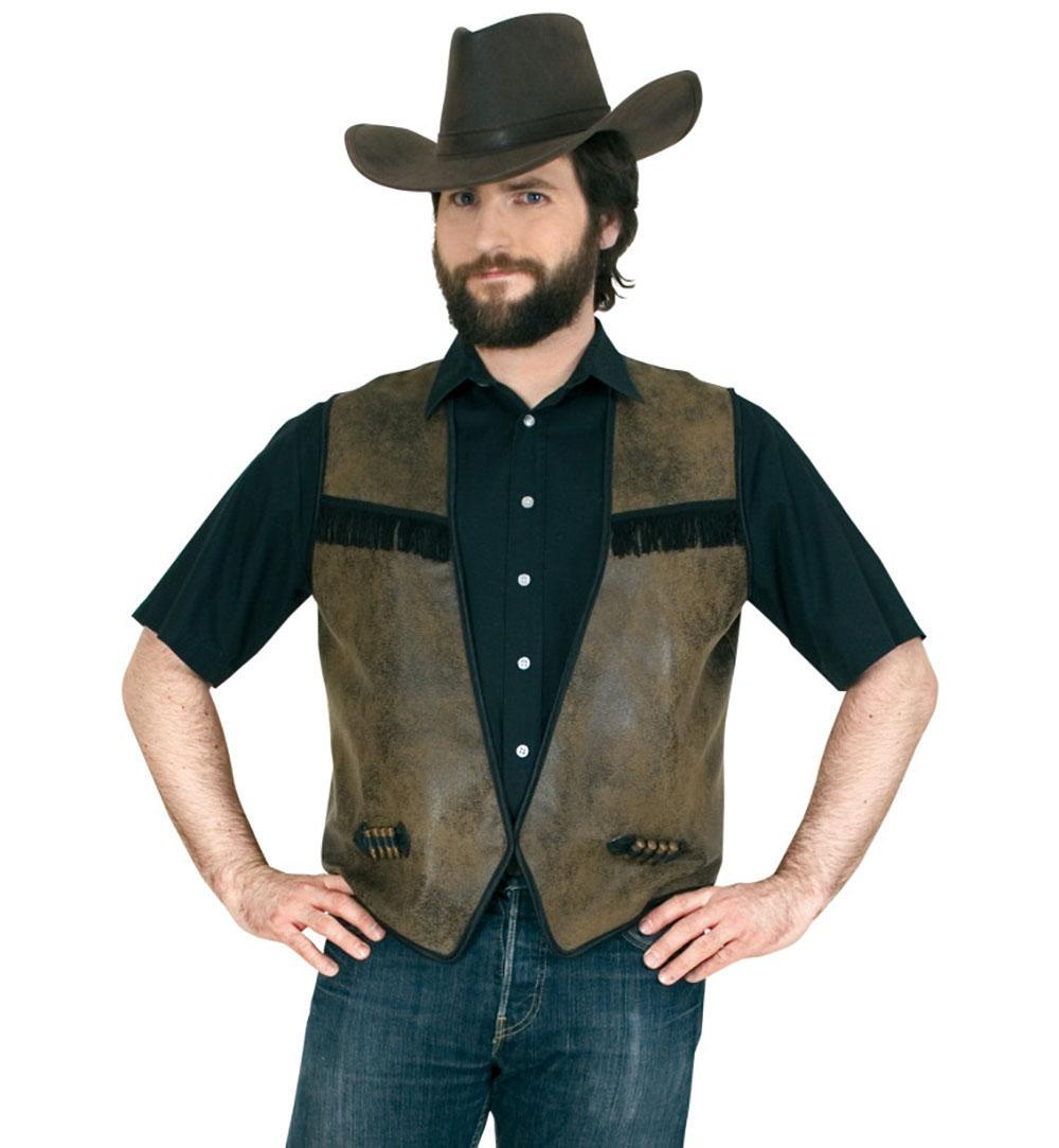 dd669ab61cf8bc Cowboyweste, Herrenkostüm braun Lederlook mit schwarzen/dunkelbraunen  Fransen Sheriff Wilder Westen Patronen Akzente offen