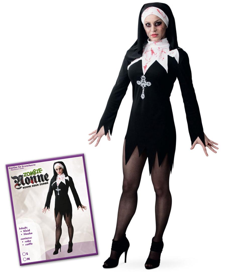 2 Tlg Erwachsenenkostum Zombie Nonne Kleid Mit Haube Karneval