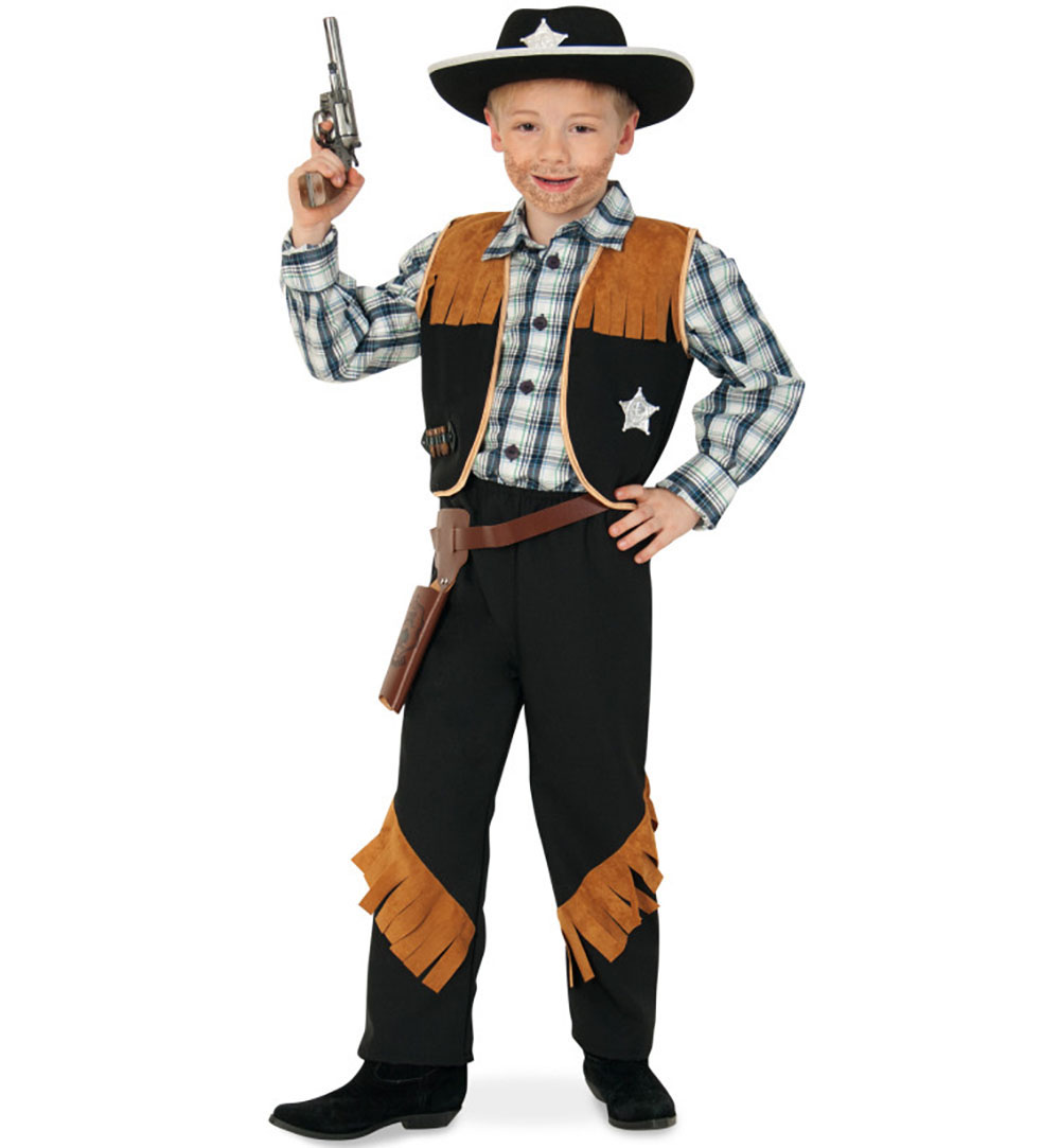 01b20d58485414 Kinderkostüm Sheriff, Braun-Schwarz, Cowboy und Indianer, Wilder Westen