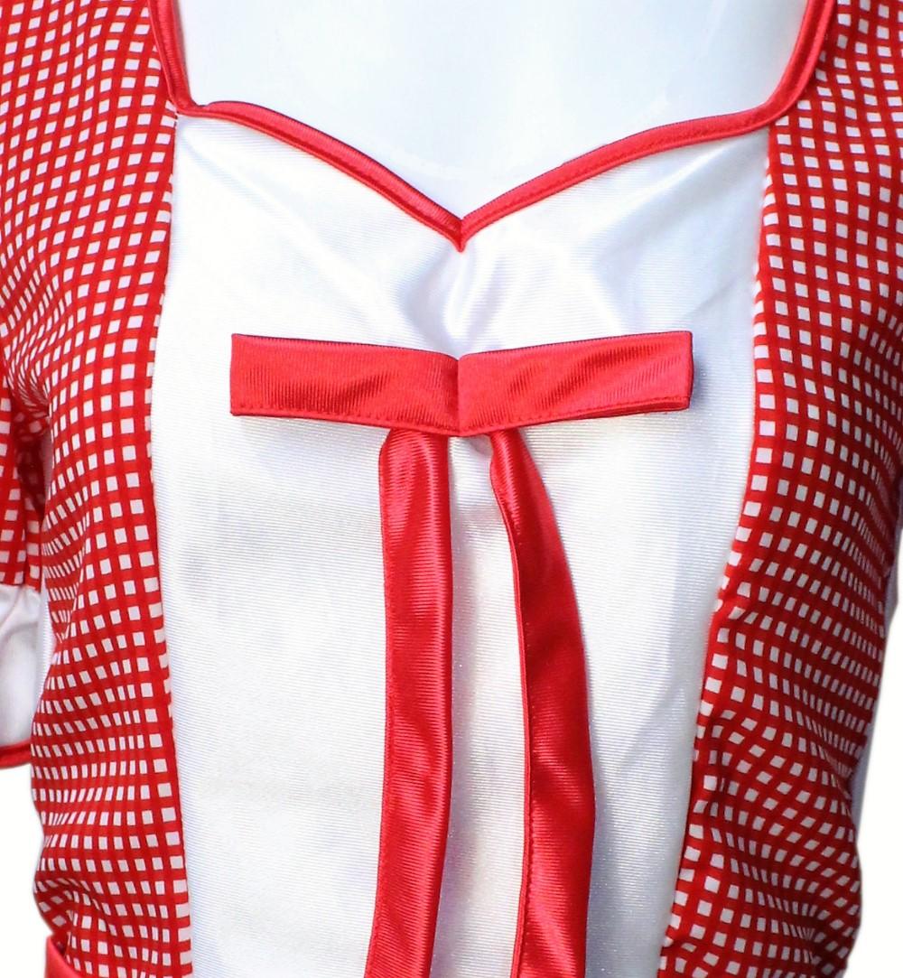 Damenkostum Baby Doll Bluse In Rot Weiss Mit Schleife Und Karomuster