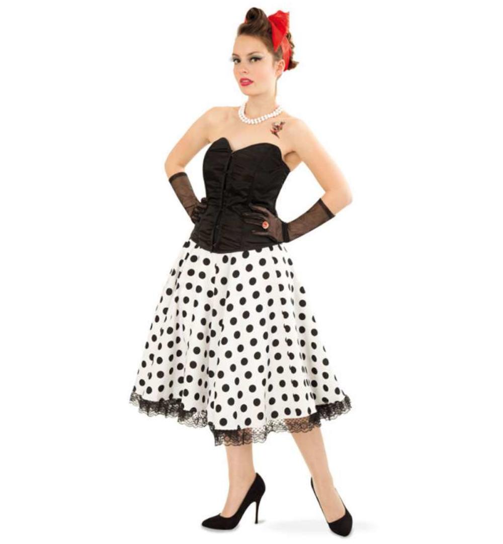 5ad4544c382c70 Rock`n Roll Rock schwarz-weiß gepunktet Tupfenrock Daisy Tellerrock  Tanzrock Rockabilly 50er/