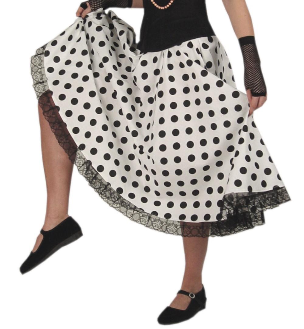 55bf24f294d7 Rock`n Roll Rock schwarz-weiß gepunktet Tupfenrock Daisy Tellerrock ...