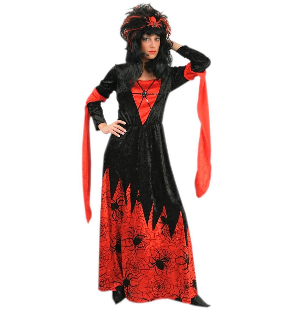 damenkost m samantha spinnenfrau kleid in rot schwarz mit spinnenaufdruck kost m f r erwachsene. Black Bedroom Furniture Sets. Home Design Ideas