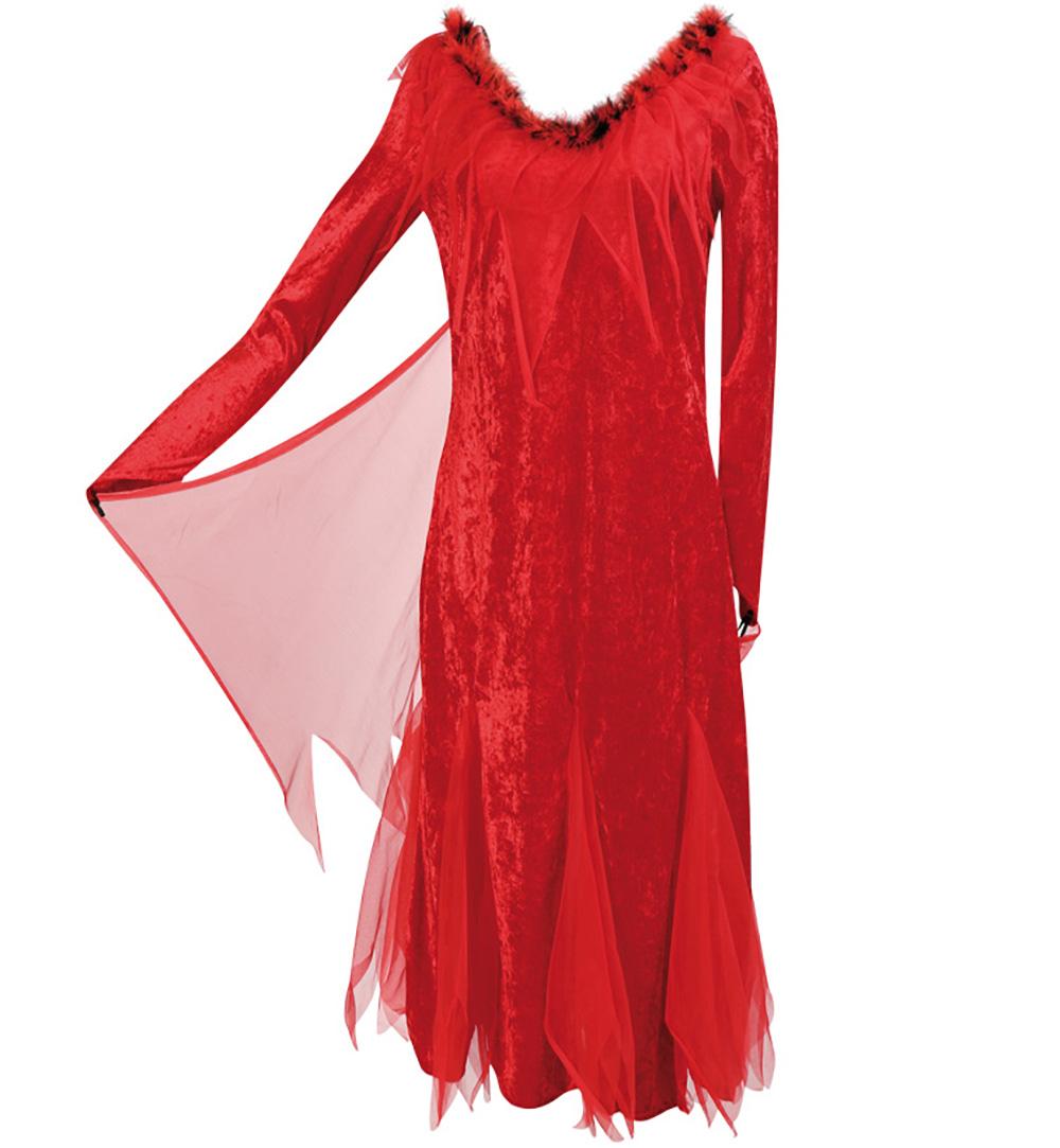 Damenkleid Teufelchen In Rot Schleier Plüschbesatz Damen Kostüm