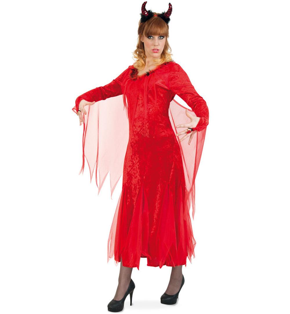 Damenkleid Teufelchen In Rot Schleier Pluschbesatz Damen Kostum