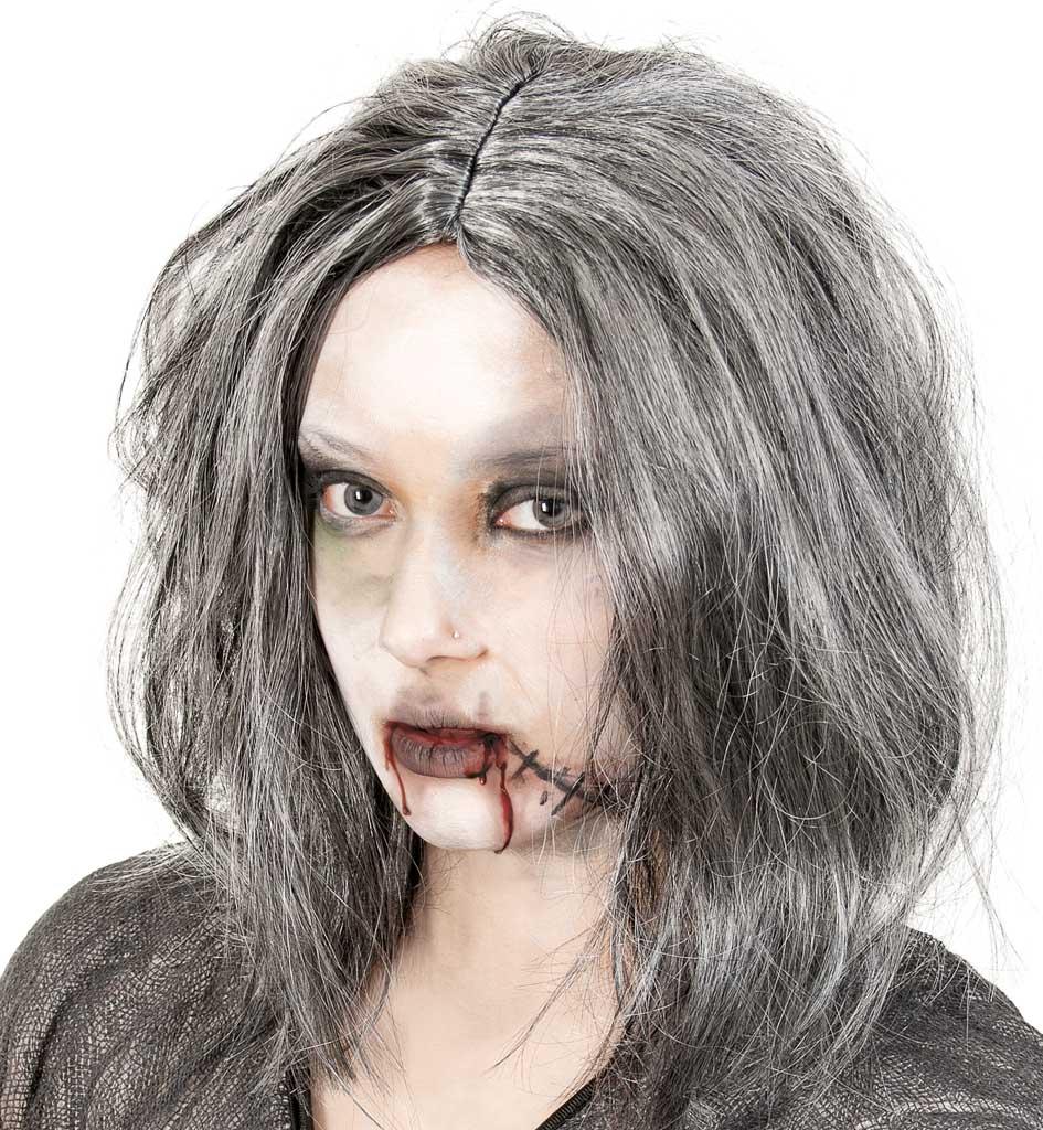 Perucke Zombie Grau Kunsthaare Fasching Karneval Halloween