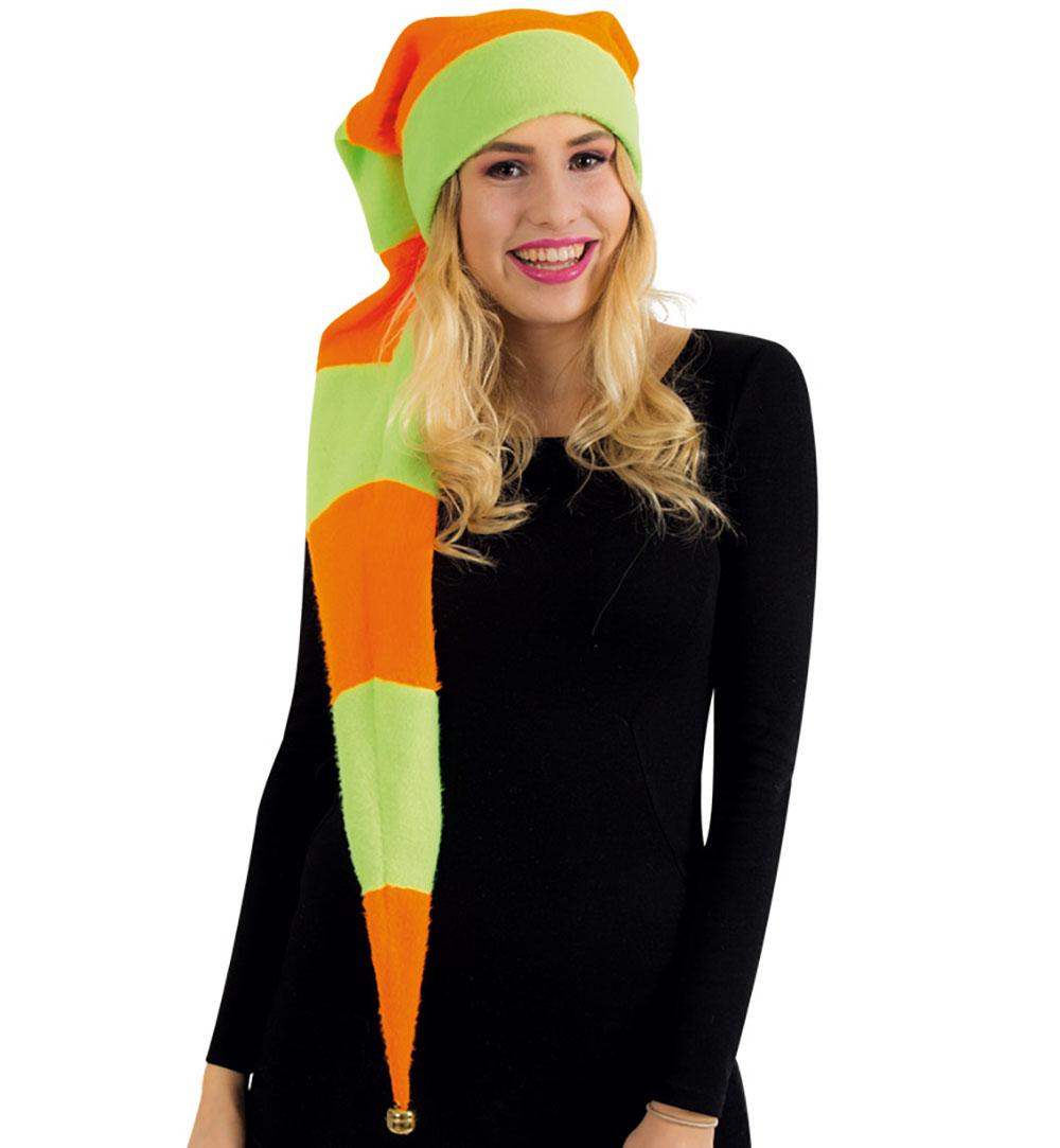 zipfelm tze neon gr n orange mit gl ckchen l nge ca 120cm in einheitsgr e f r erwachsene. Black Bedroom Furniture Sets. Home Design Ideas