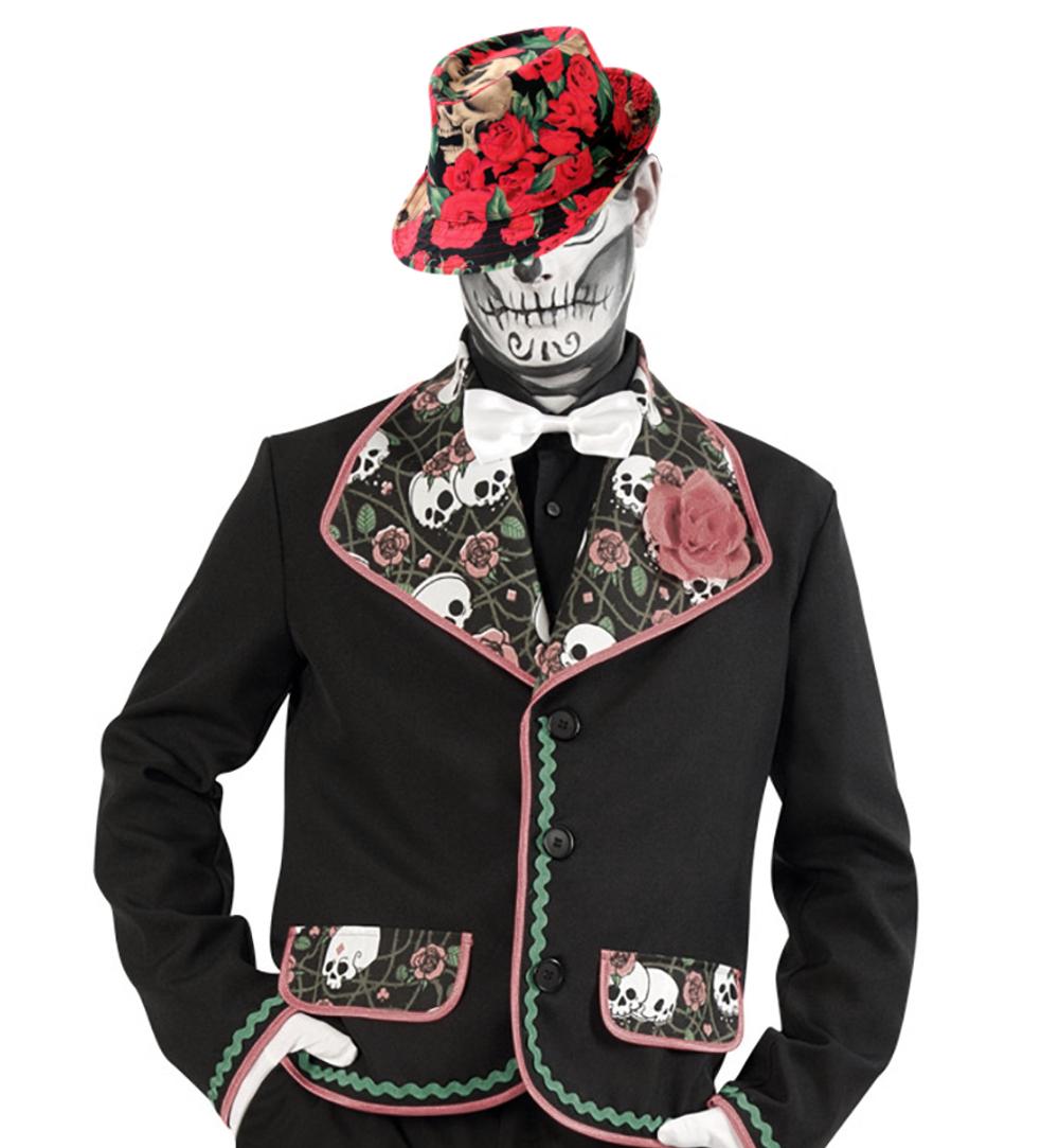 trilby mexikanischer totentag in schwarz mit roten rosen und totenkopf f r erwachsene. Black Bedroom Furniture Sets. Home Design Ideas