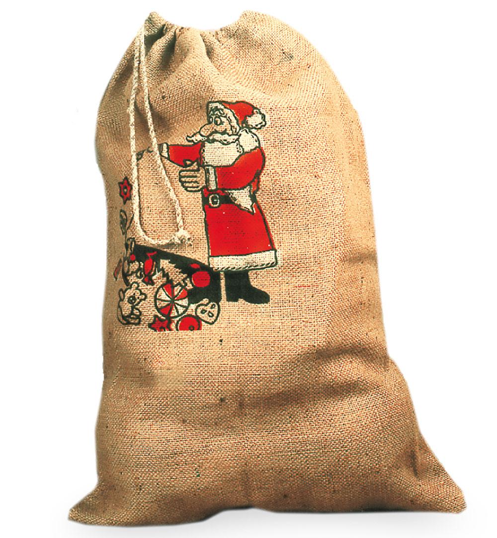 nikolaussack mit weihnachtsmannaufdruck aus jute