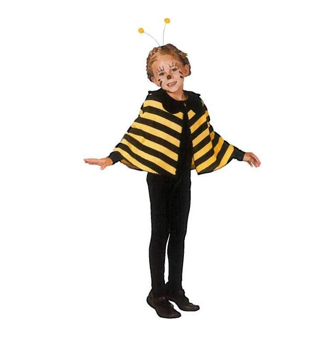 Kinderkostum Bienen Umhang In Schwarz Gelb Gestreift Cape Bienchen
