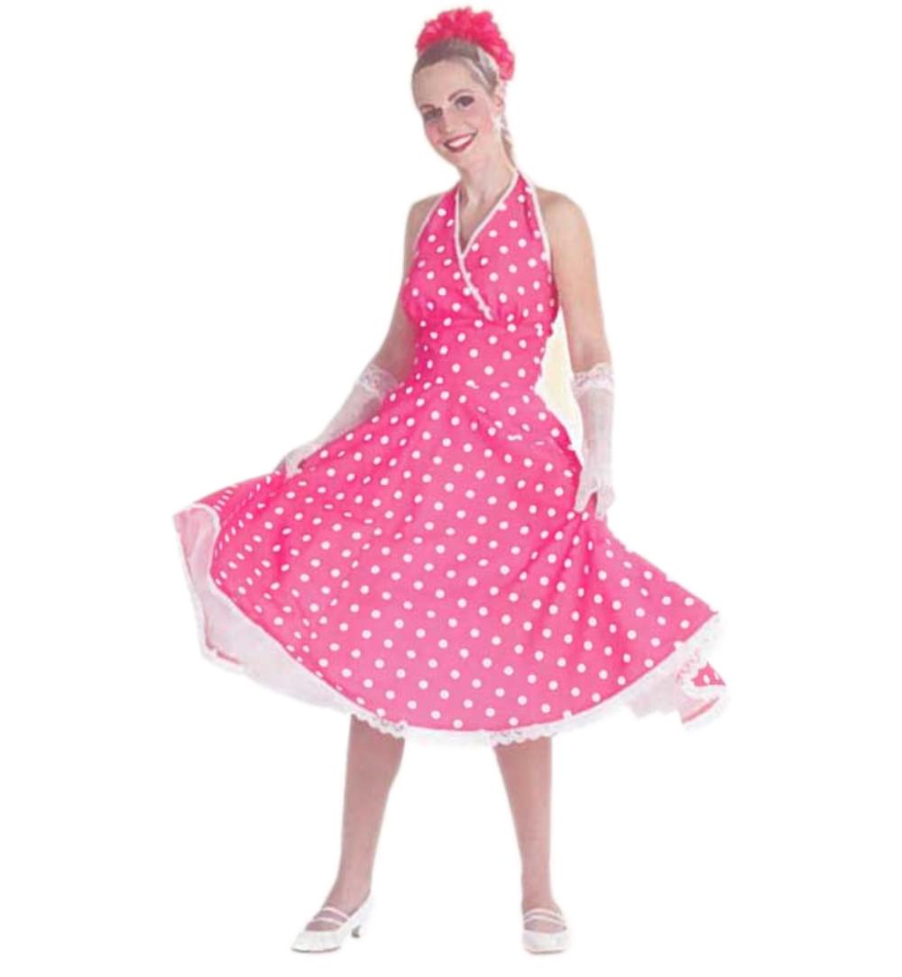 0b3b89f81290dd Damenkostüm Petticoat-Kleid in pink mit weißen Punkten Rockabilly  Rock'n'Roll Größe