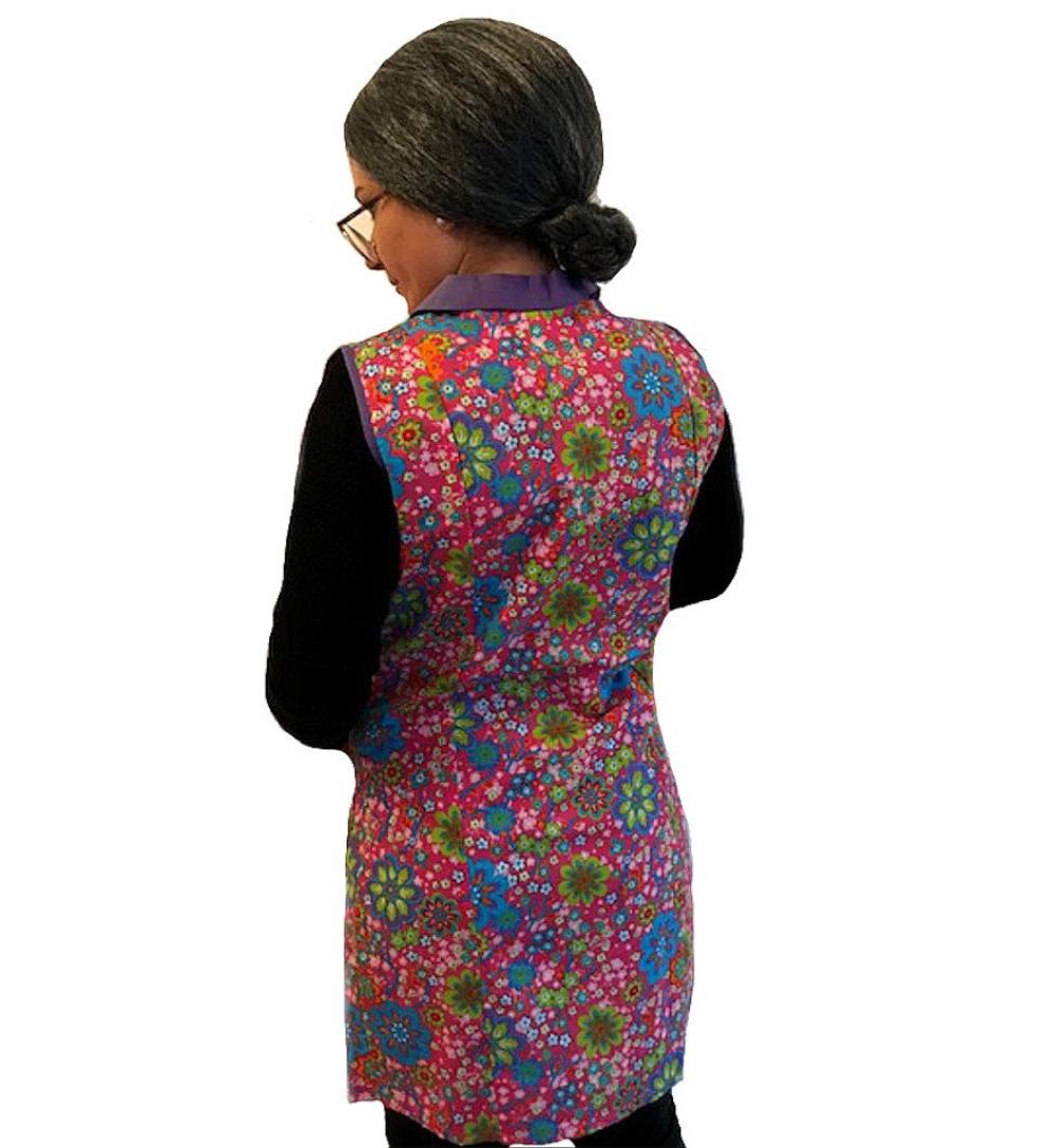 Bunter Hausfrauenkittel Geblumt Oma Verkleidung Putzfrau Kostum