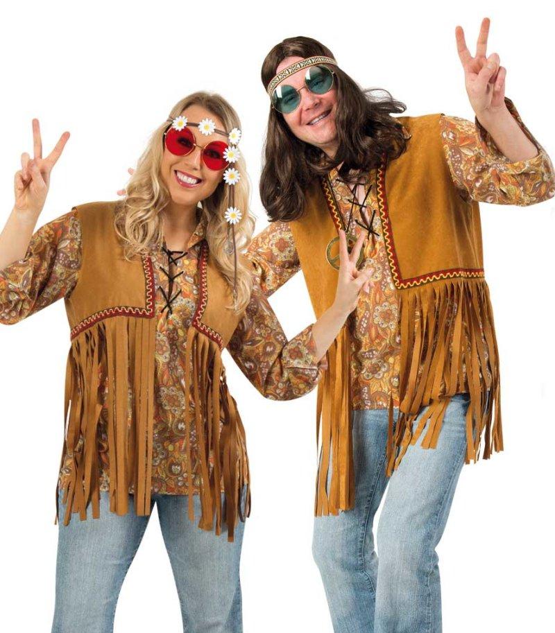 60er Jahre 12989713F 3-teilig Blumenkind Kostüm-Set Hippie für Erwachsene