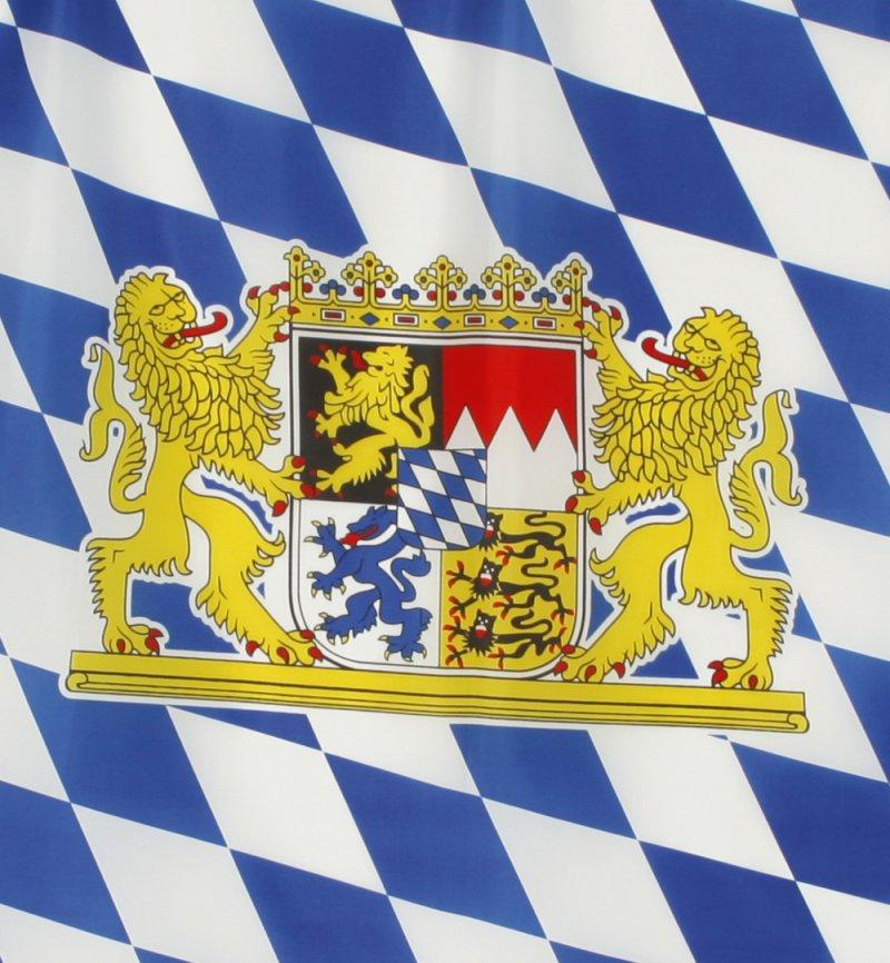 Bayern Fahne Blau-Weiß mit Bayern-Wappen 60x90 cm ...