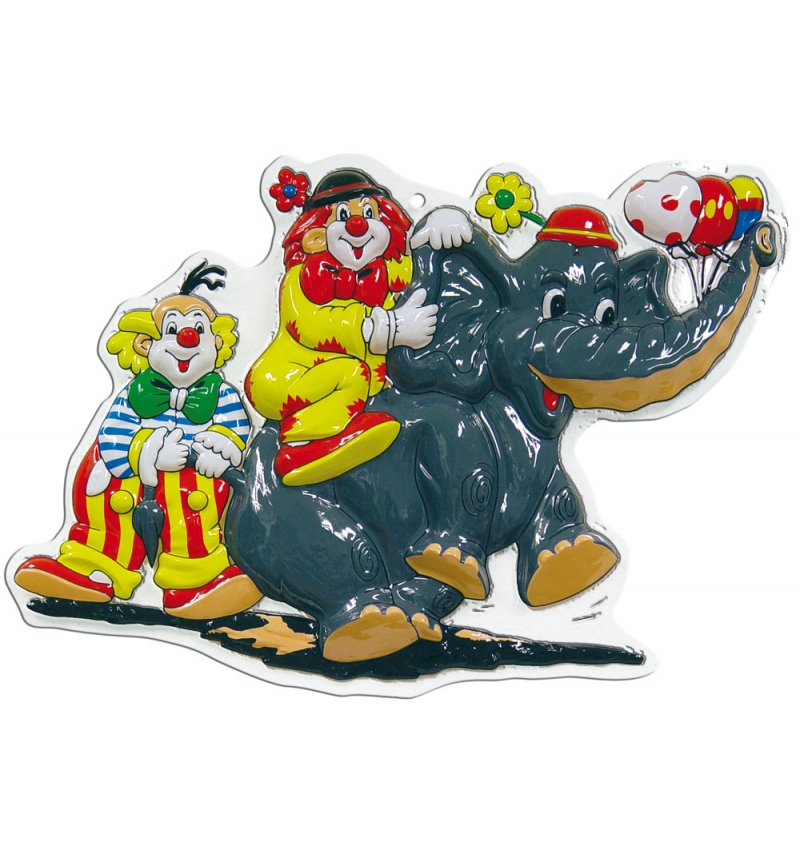 Wanddeko Clown mit Elefant, Wanddekoration