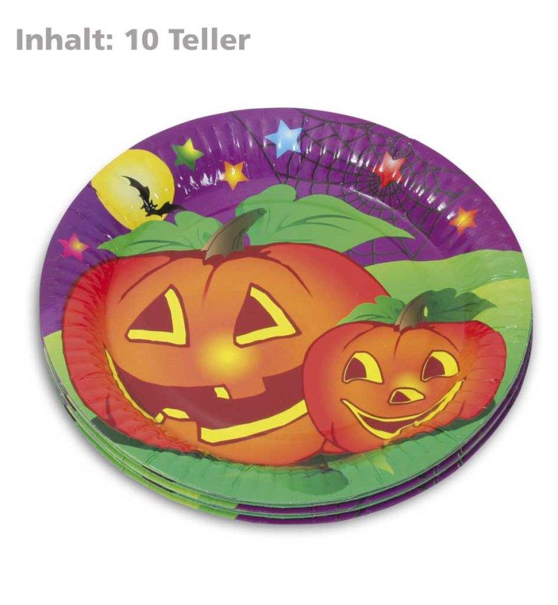 Halloween teller mit k rbis motiv pappteller - Tischdekoration halloween ...