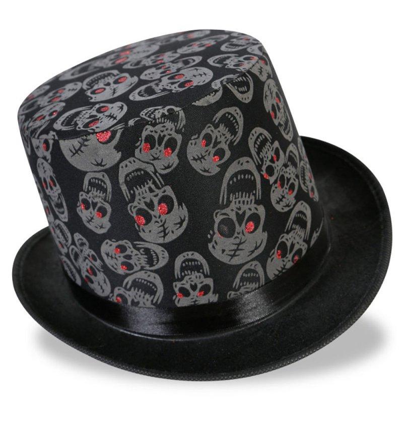 zylinder totenkopf in schwarz f r erwachsene zombiehut halloween accessoire. Black Bedroom Furniture Sets. Home Design Ideas