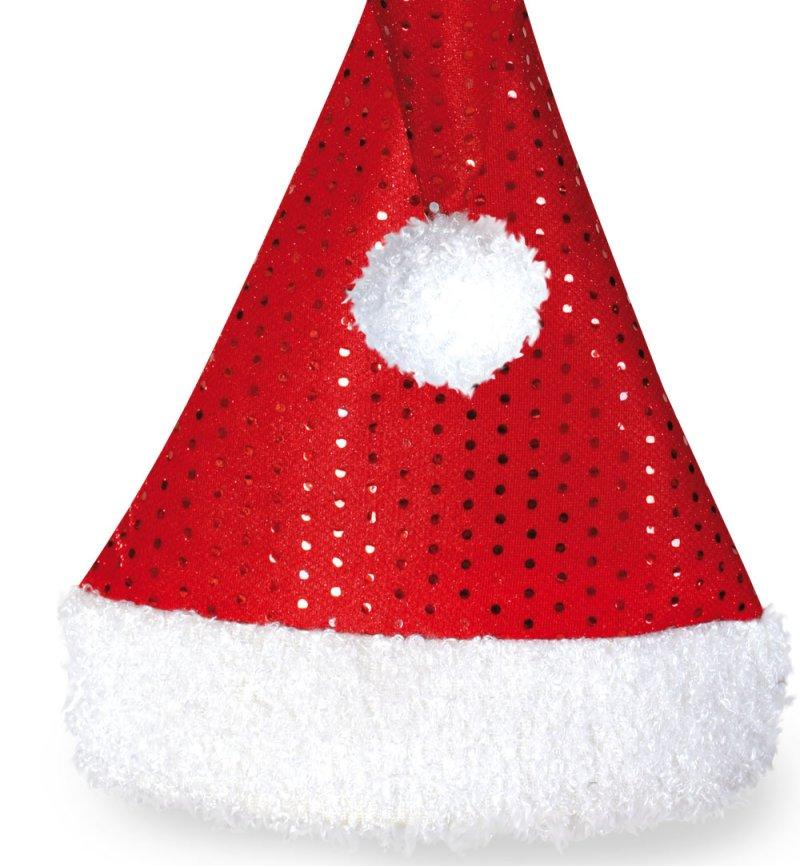 Weihnachtsmütze Nikolaus Mütze Kostüm Zipfelmütze mit Pailletten Bommel Mütze