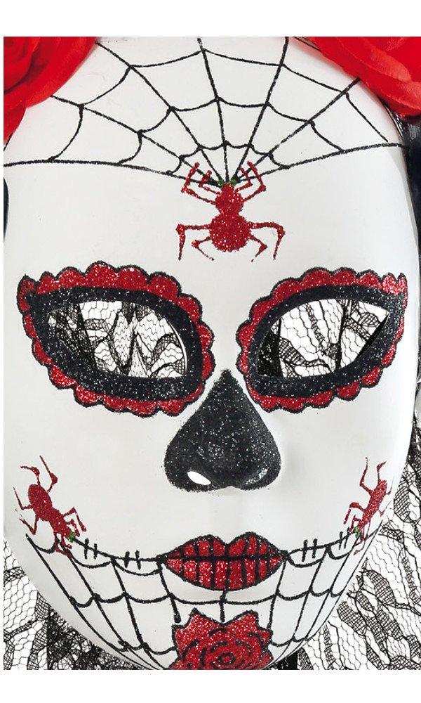 maske mexikanischer totentag wei rot schwarz spinne rosen schleier halloween dia de los. Black Bedroom Furniture Sets. Home Design Ideas