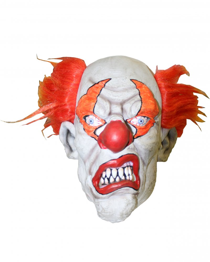 Maske Horror Clown, Latex, 3/4-Maske, weiß, rot, orange