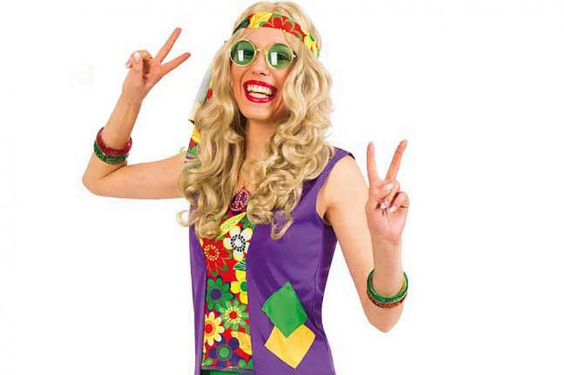 Hippie Girl zweiteiliges Hippie Kostüm, Flower-Power-Outfit + Hippie-Stirnband