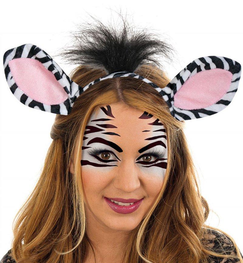 Zebra Set 2 Tlg Haarreif Mit Ohren Und Schwanz Tierkostum