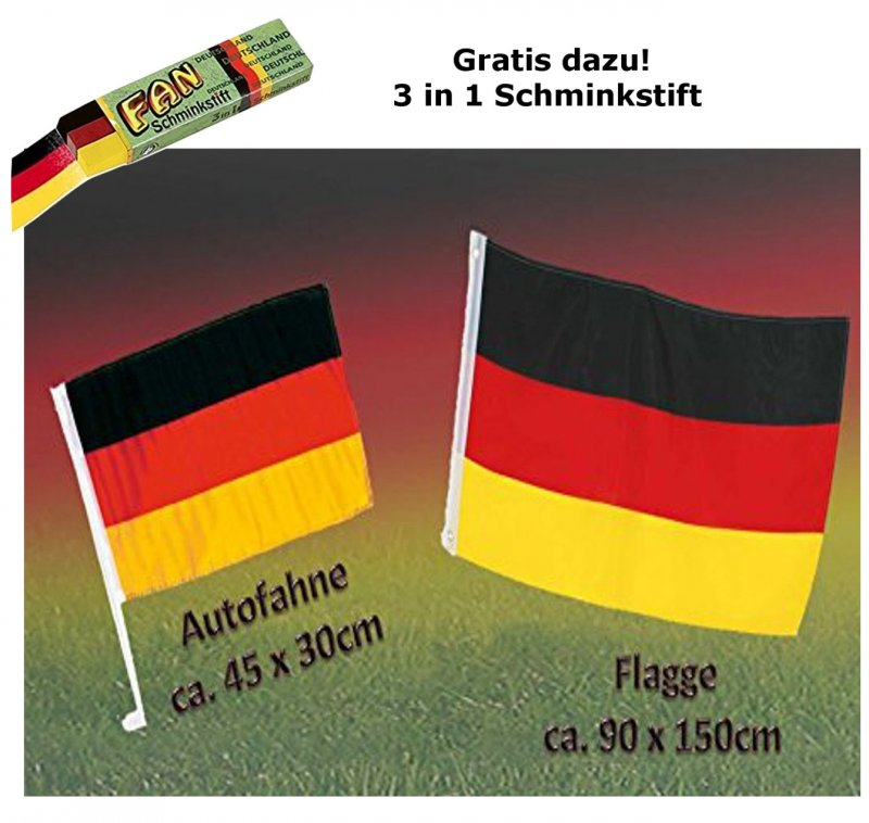 Fan Set, 3-tlg. Deutschland, EM, WM, Fußballparty, Germany, Fanartikel