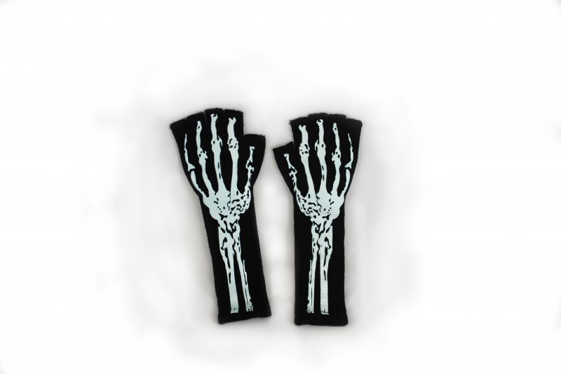 Halloween Handschuhe Skelett, ohne Finger, Halloween, Party, Karneval, Show, Mottoparty, Horror