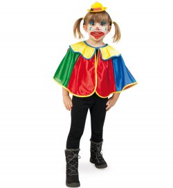 "Kinderkostüm ""Cape Clown"" Clown-Umhang 1-tlg. Clown-Cape lustiges Kostüm für Kinder Spaßvogel Zirkus"