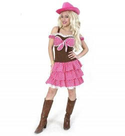 Damenkostüm Cowgirl Kleid in braun-pink Western Country Wilder Westen